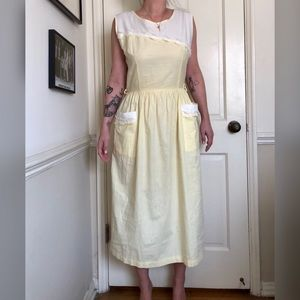 40s Vintage Yellow House Dress